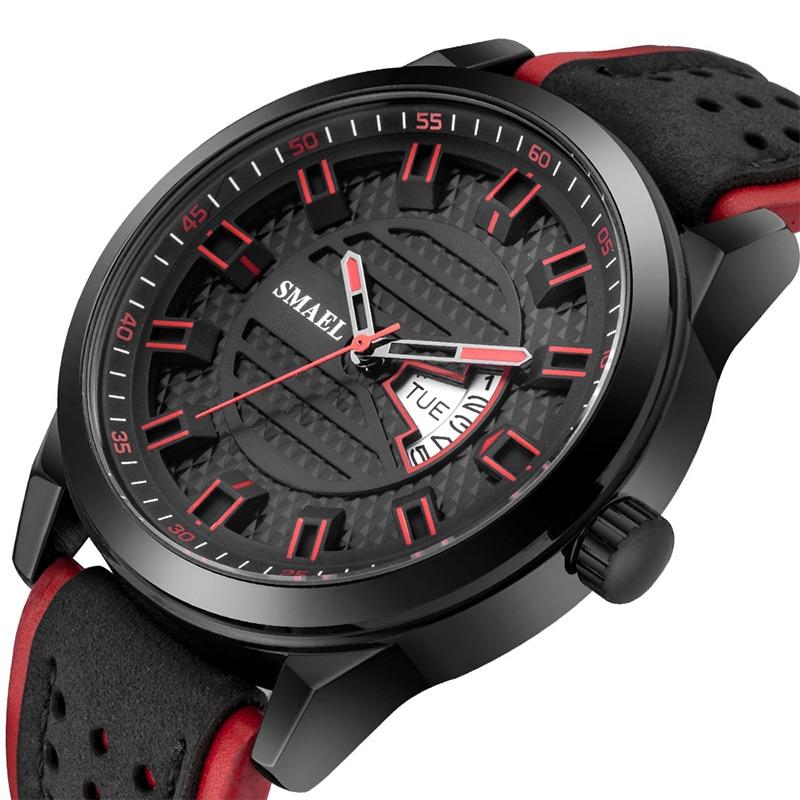 Мужские спортивные часы наручные с кожаным ремешком часы, кварцевые Бизнес календарь подарок модные наруч...