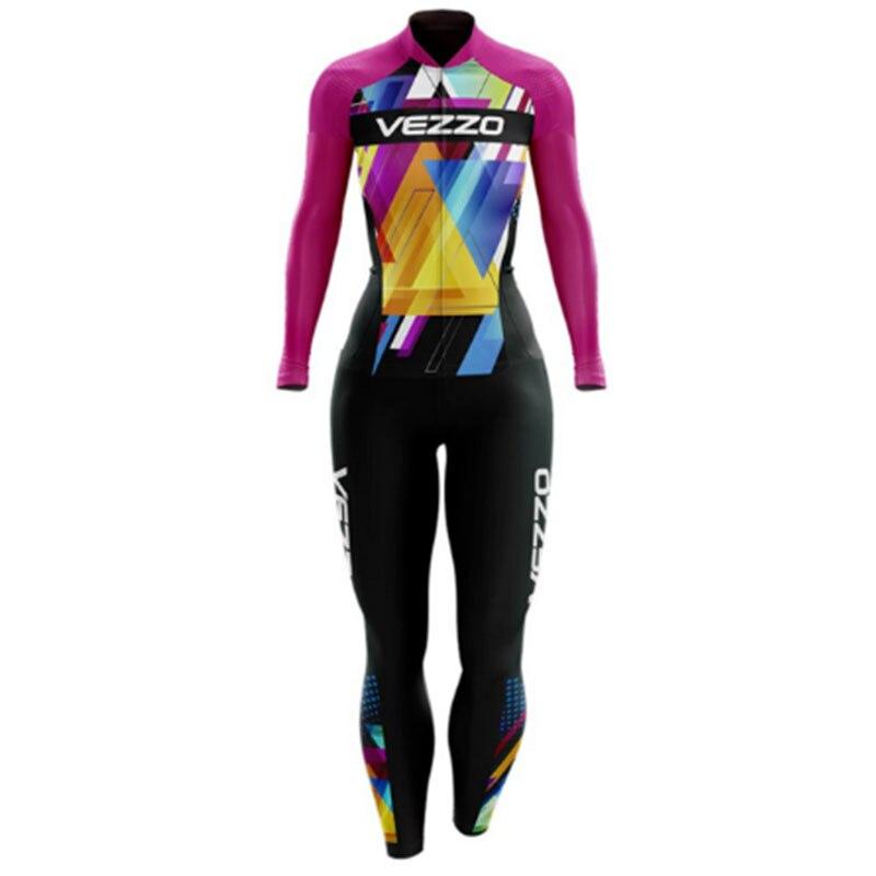 VEZZO-Conjunto de Ropa de triatlón largo para Mujer, traje de Ciclismo, Maillot...