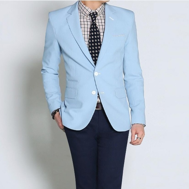 Летние светильник голубые мужские костюмы YiMinpwp блейзер куртка смокинги