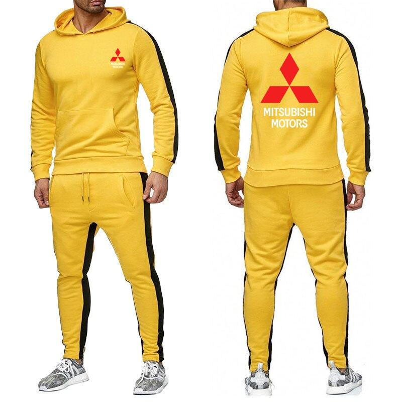 ربيع الخريف الرجال هوديي ميتسوبيشي شعار سيارة طباعة عالية الجودة شريط الرجال القطن عادية البلوز sweatpants 2 قطعة sui