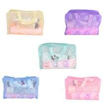 Floral PVC Waterproof Cosmetic Bag Bath Toiletry Towel Makeup Storage Bag Flower Pouch Case Organize
