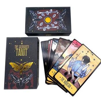 78 листов портативная астрологическая настольная игра Таро карты семья вечерние палуба подарок развлечение Sasuraibito бумажная позолоченная кр...