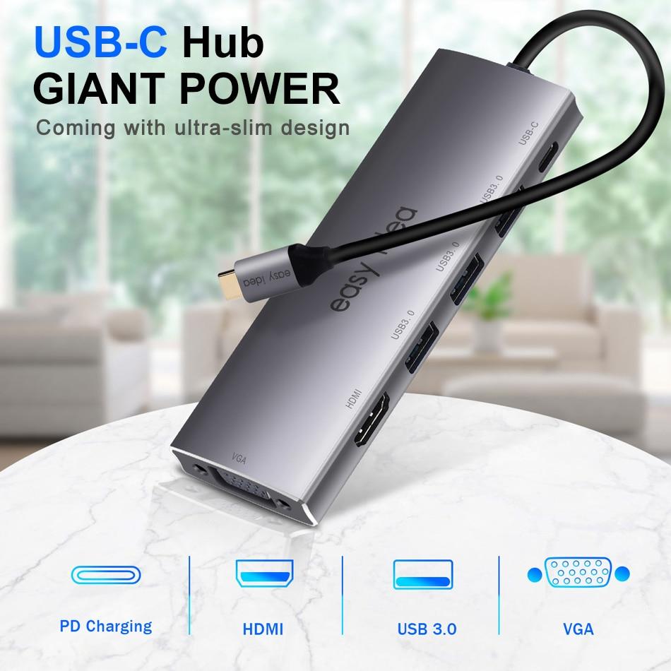 Adaptateur de moyeu USB C de Type C multi-usb 3.0 répartiteur de USB-C Hub HDMI VGA Port Multiple USB 3.1 Hab extenseur pour MacBook Pro