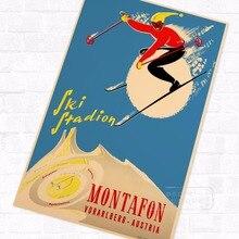 Affiche de voyage en papier Kraft Vintage   Autocollant mural, en toile, rétro, autocollant de décoration, cadeau de décoration, pour le Bar à la maison, diy bricolage, Chamonix