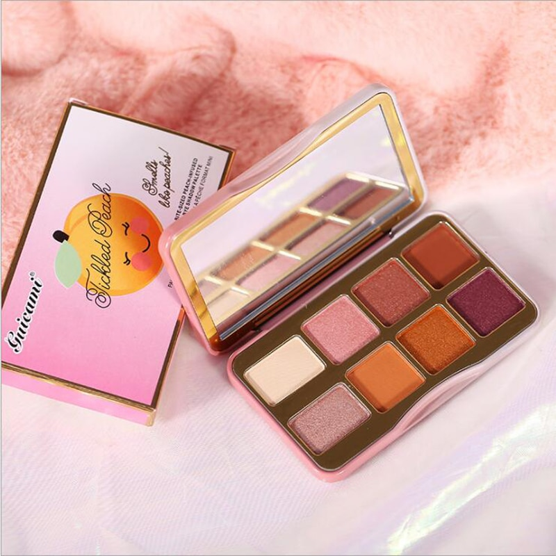 Caja de hojalata, paleta de sombra de ojos de 8 colores, portátil, perlado, mate, Chocolate melocotón, paleta de polvo de sombra de ojos