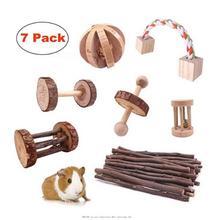 Jouets cochon dinde en bois   Jouets à lingots, rouleau de Hamster, de Rat, exercice Molar de lapin, lapins et oiseaux pour dents (paquet de 7)