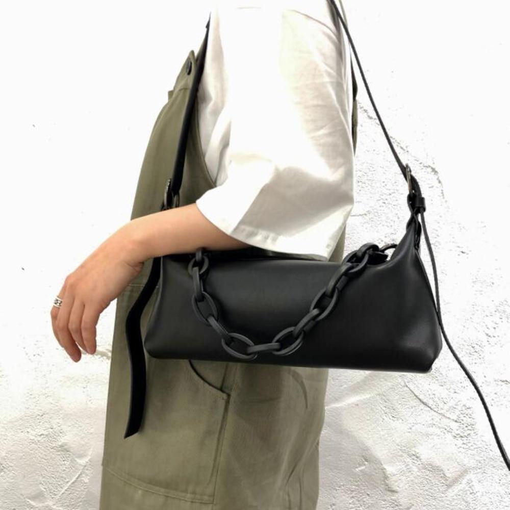 مصمم 100% جلد طبيعي حقائب سيدات سلسلة سميكة السيدات حقيبة جلد البقر محافظ السيدات حقيبة ساعي مخيط الرغيف الفرنسي رفرف