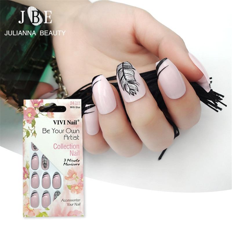 24pcs/set Coffin Fake Nails Press on Pink False Nail Tips Pre-designed Gold False Nail Manicure Beauty Tools With Free Glue
