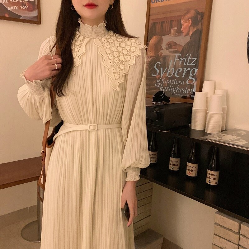 H57b2518c1d894ccd91396cde820899e65 - Spring / Autumn Lace Stand Collar Long Sleeves Pleated Midi Dress with Belt