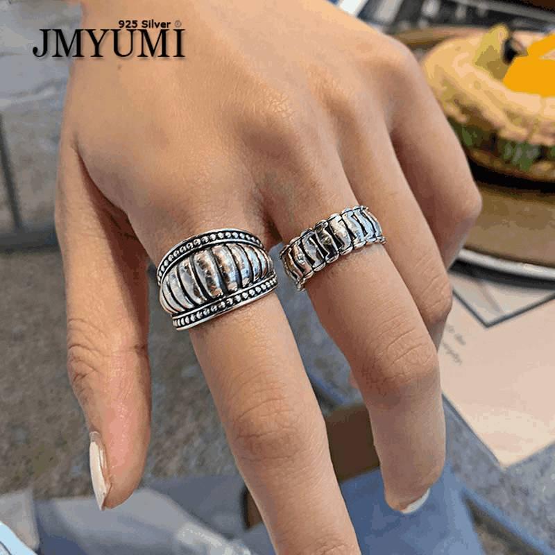 Минималистичные серебряные кольца JMYUMI для женщин, новые тренды, винтажные, в стиле панк, в полоску, геометрические, Обручальные, вечерние юв...