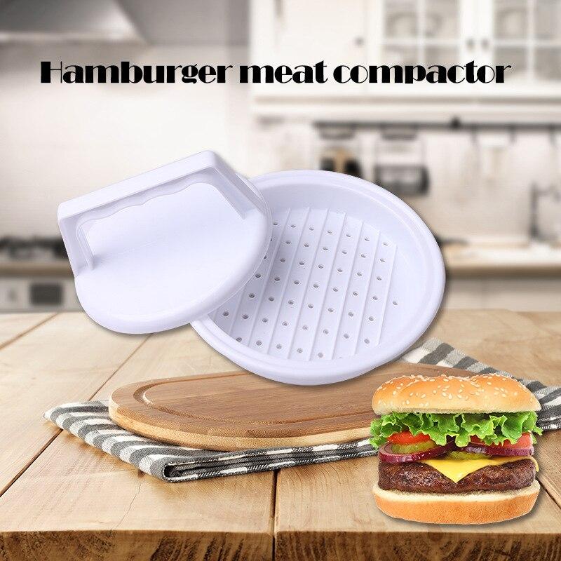 Hambúrguer ferramenta de imprensa carne multifuncional cozinha cozinhar ferramenta forma redonda grau alimentício pp diy fabricante hambúrguer carne molde quente
