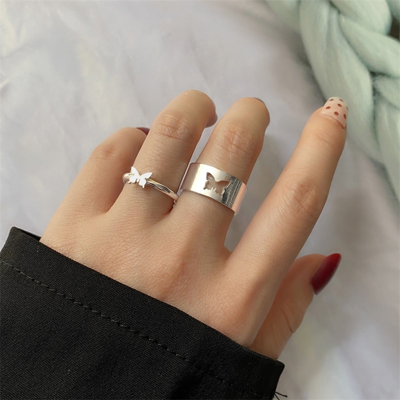IFMIA Trendy Gold Butterfly Rings For Women Men Lover Couple Rings Set Friendship Engagement Wedding Open Rings 2021 Jewelry