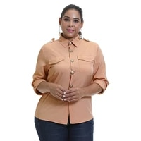 formal turn down collar plus size blouse long sleeve shirt office ladies top casual solid single breasted womens pocket blouses