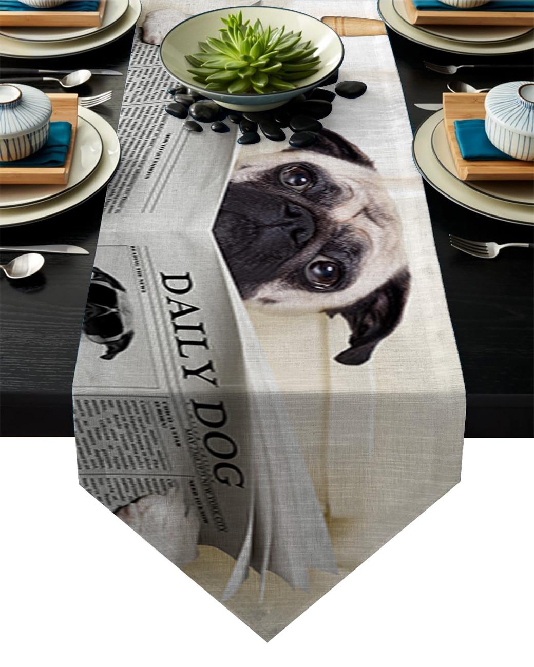 Divertido periódico perro camino de mesa bandera decoración de fiesta casera mantel corredores de mesa para boda