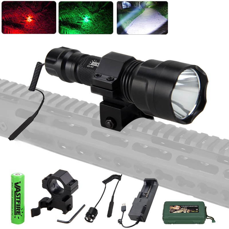 Hunting Flashlight Set XML T6/Q5 Green/Red/White LED Light with Scope Mount +Pressure Switch+18650 B
