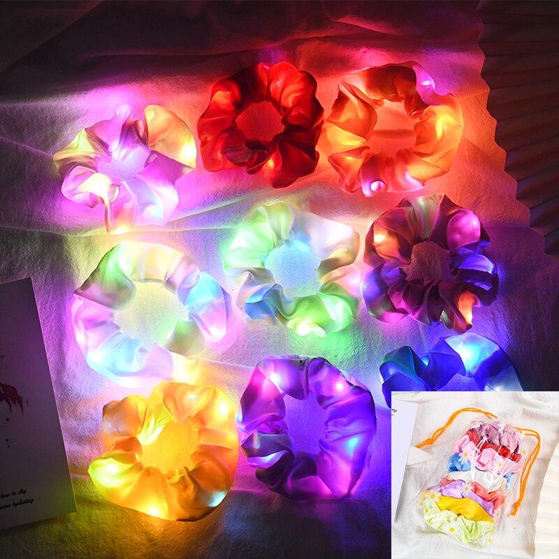9Pcs/Bag Led Luminous Hair Band Satin Scrunchies Elastic Hair Tie Glow Hair Accessories for Halloween Party Christmas Headwear