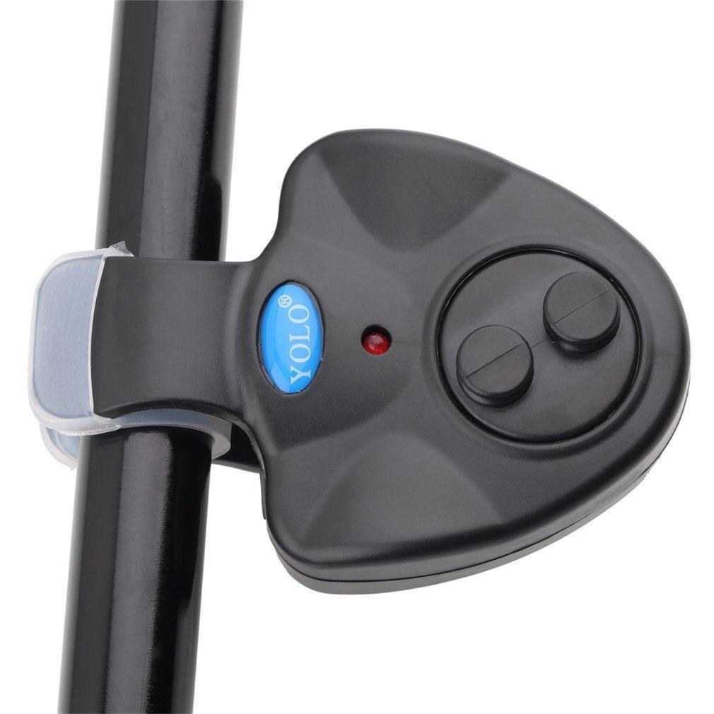 Mini Universal Electronic Fish Bite Sound Alarm LED Light Alert Bell Fishing Rod Clip-On ABS Fish Bite Alarm Black недорого