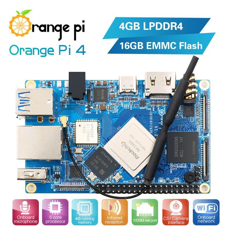 Orange Pi 4 4GB DDR4 + 16GB EMMC Flash Rockchip RK3399 Dual-core + Quad-core tablero de desarrollo de corteza Android apoyo ubuntu debian