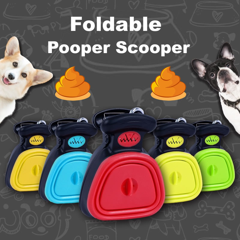 Dog Pet Travel Foldable Pooper Scooper With 1 Roll Decomposable bags Poop Scoop Clean Pick Up Excreta Cleaner Epacket Shipping