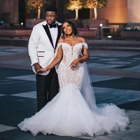 plus size luxurious off the shoulder african wedding dresses 2021 appliques bead mermaid bridal gowns sweep train mairee