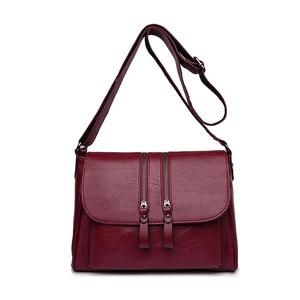 1PCS  Women's Bag Hot New Style Women's Shoulder Bag Soft Leather  Bag Middle Age Women's Classic Small Square Bag