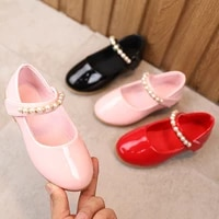baby girls shoes kids soft bottom pearl princess shoes girls chaussure fille little girl leather shoes black red pink 2 3 4 12