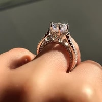 popular artificial square diamond princess ring engagement finger ring jewelry