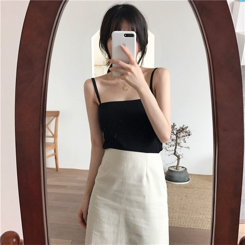 H57b81904d19f46568866be3075290eafu - Summer Korean Sleeveless Basic Solid Camisole