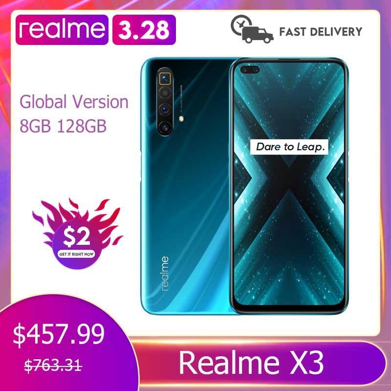 Realme X3 глобальная Версия 8 ГБ 128 6,6 дюйм ультра 120 Гц Экран 64-мегапиксельная четырехъядерная камера NFC Snapdragon 855 плюс мобильный смартфон