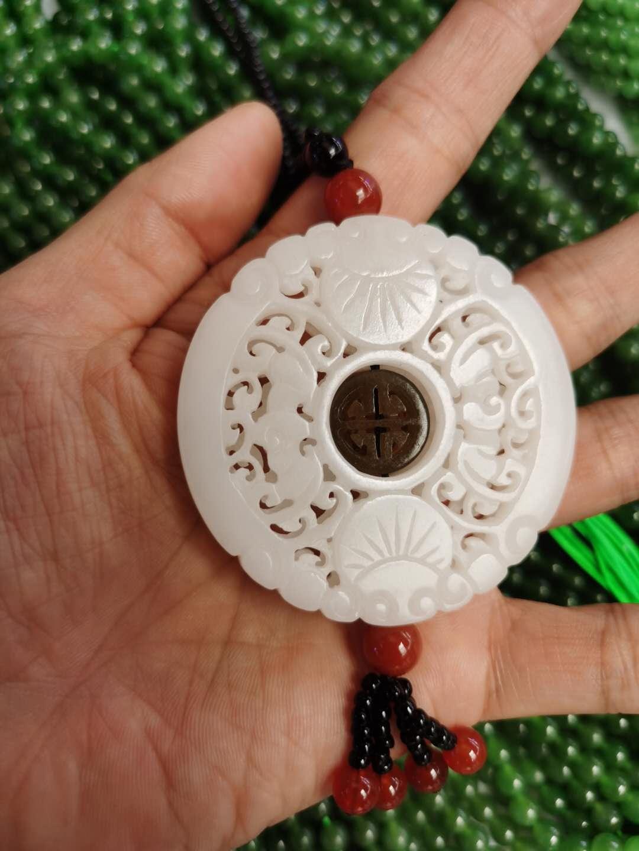 Natural Hetian White Jade Hollow Handcarved Flower Jade Pendant necklace women men jadeite jade jewelry