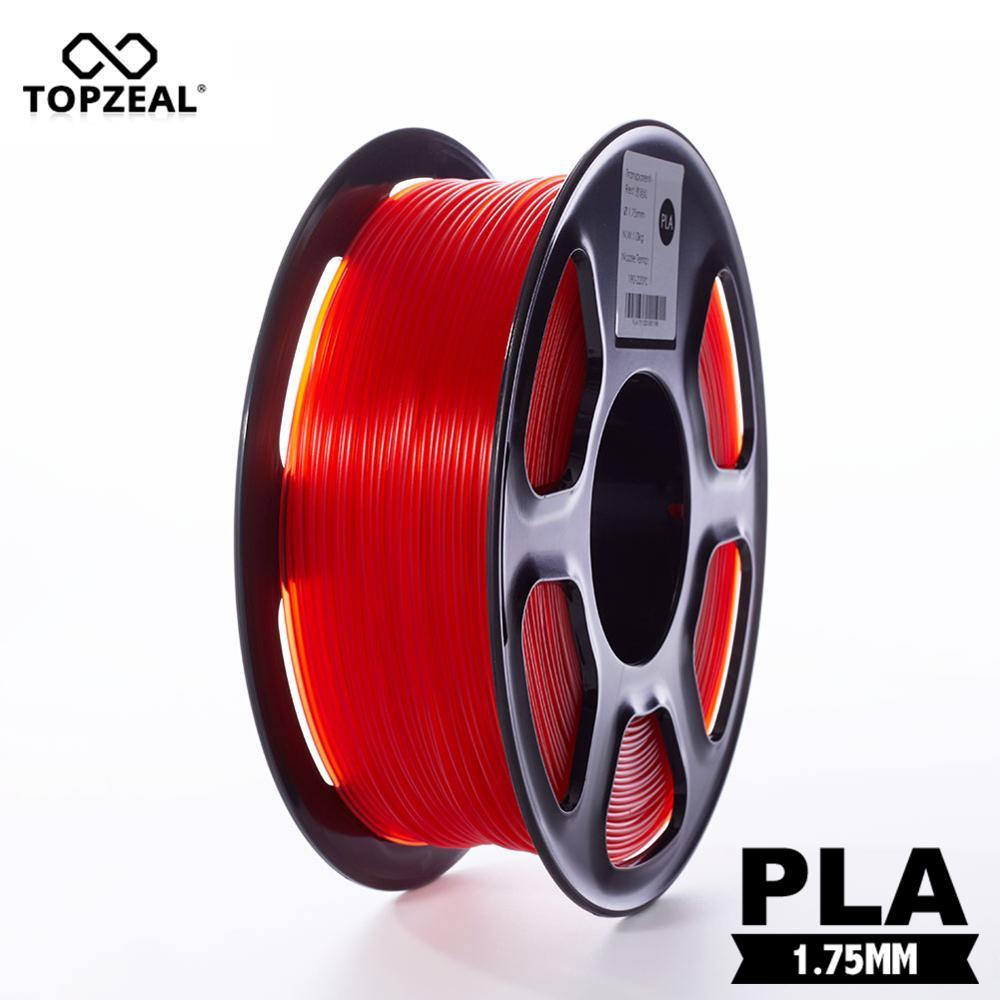 TOPZEAL-خيوط بلاستيكية شفافة ثلاثية الأبعاد ، PLA ، 1.75 مللي متر ، دقة الأبعاد 1 كجم/- 0.02 مللي متر ، أحمر شفاف للطابعة ثلاثية الأبعاد