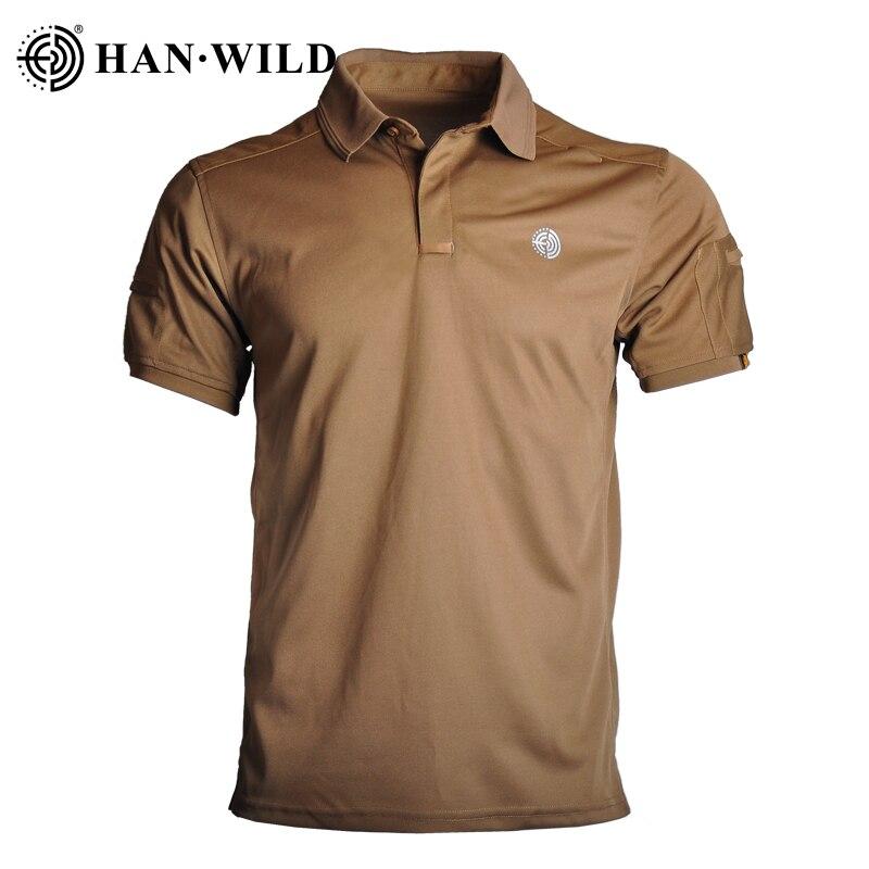 HANWILD الرجال الصلبة قميص بولو عادية تخفيف قصيرة الأكمام التنزه الصيد تسلق الصيد مكافحة يتقلص مكافحة Wrincle تنفس