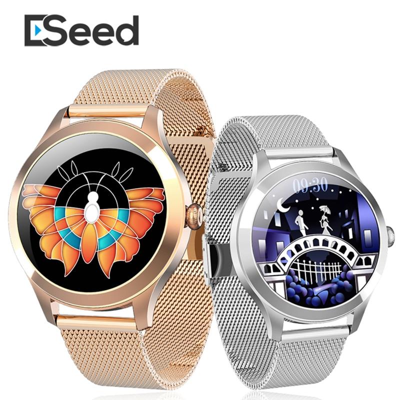 Eseed kw10 pro relógio inteligente feminino toque completo ip68 à prova dip68 água monitor de freqüência cardíaca monitoramento sono fitness pulseira smartwatch