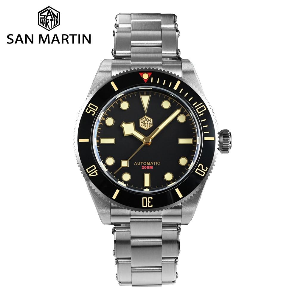 سان مارتن-ساعة غواص للرجال BB58 ، ريترو ، فاخرة ، مقاومة للماء ، شبح ماء ، ميكانيكية ، برشام ، سوار ياقوت 20Bar