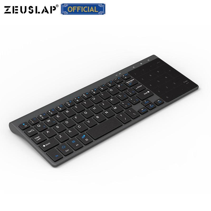 ZEUSLAP-لوحة مفاتيح كمبيوتر لاسلكية صغيرة تعمل باللمس 2.4 جيجاهرتز ، مع لوحة لمس ، للكمبيوتر اللوحي ، usb ، صندوق التلفزيون ، الهاتف الخلوي