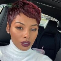 short straight human hair wig cute pixie cut wig for black allure hair women remy malaysia human hair burgundy color