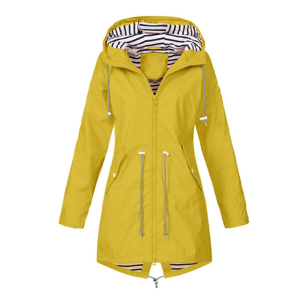 Solid Color Jacket Raincoat Outdoor Jacket Wind Waterproof Rain Long Coat Casual Basic Coats Ladies