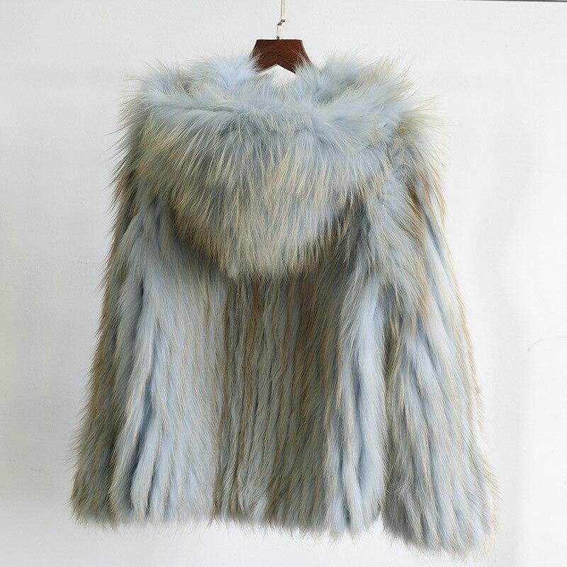 Новинка 2020, Стильное короткое пальто из натурального Лисьего меха, приталенное Женское зимнее пальто с длинными рукавами и капюшоном