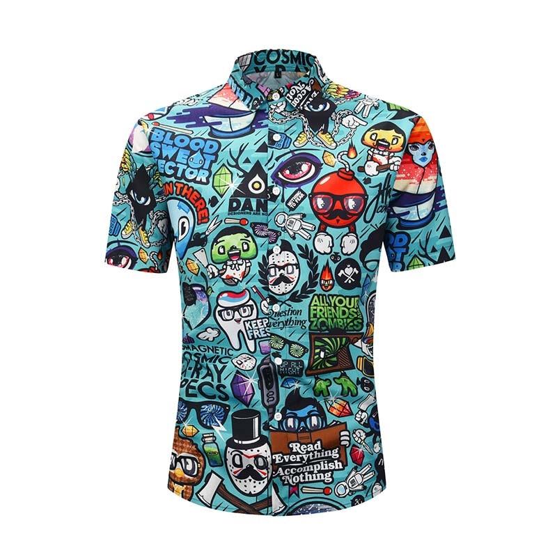 Гавайская Пляжная футболка с коротким рукавом для мужчин 2020 Летняя мода мультфильм печати тропический блузка вечерние праздничные повседн...