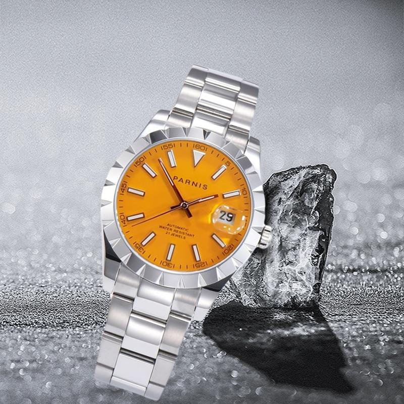 Parnis-ساعة يد رجالية فاخرة ، 39.5 مللي متر ، بمينا برتقالي ، تقويم ، حركة ميكانيكية أوتوماتيكية ، Miyota 8215