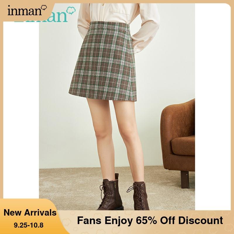 INMAN المرأة منقوشة تنورة الخريف الشتاء Vintage عالية الخصر نمط Preppy ألف خط ضئيلة قيعان