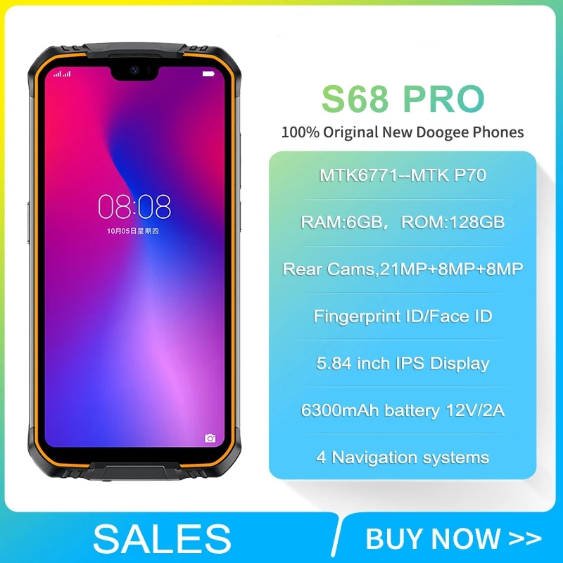Перейти на Алиэкспресс и купить Doogee S68 Pro IP68 прочный телефон 5,9 дюймов FHD + Helio P70 Octa Core 6 ГБ 128 Гб Смартфон Беспроводной зарядка NFC 6300 мА/ч, 12V2A заряда