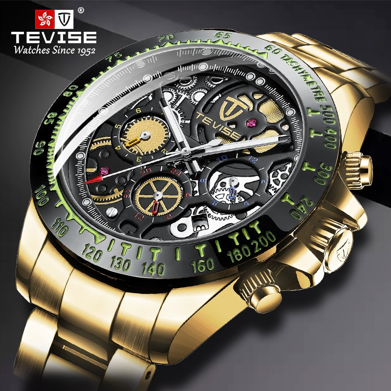 Dropshipping TEVISE Fashion Stainless Steel Men Watch Waterproof Automatic Mechanical Watches Gold M