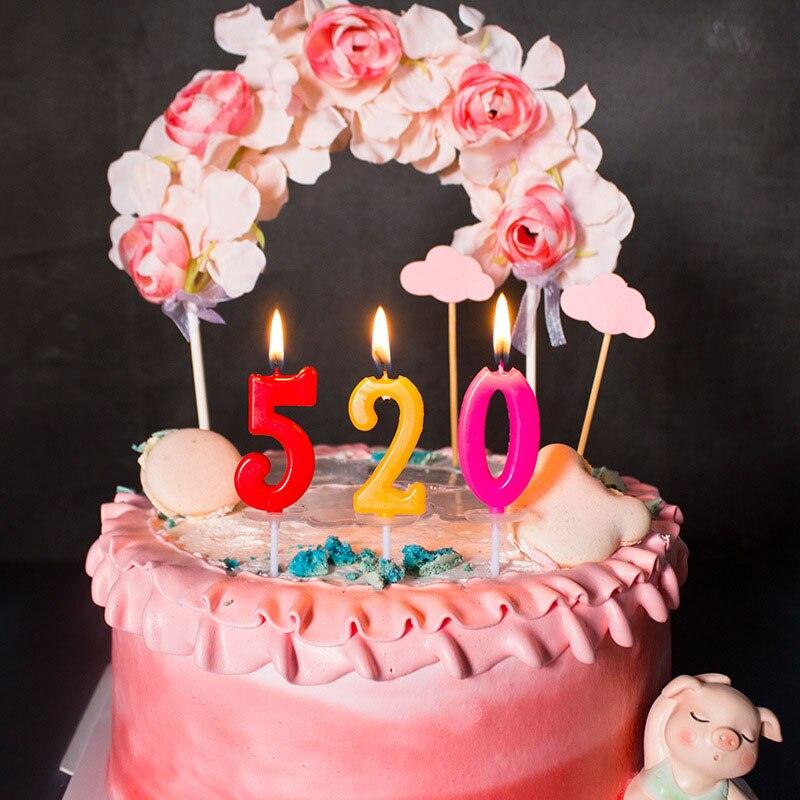 Бездымные свечи, креативные свечи, праздничные украшения, разноцветные фотосвечи с номером