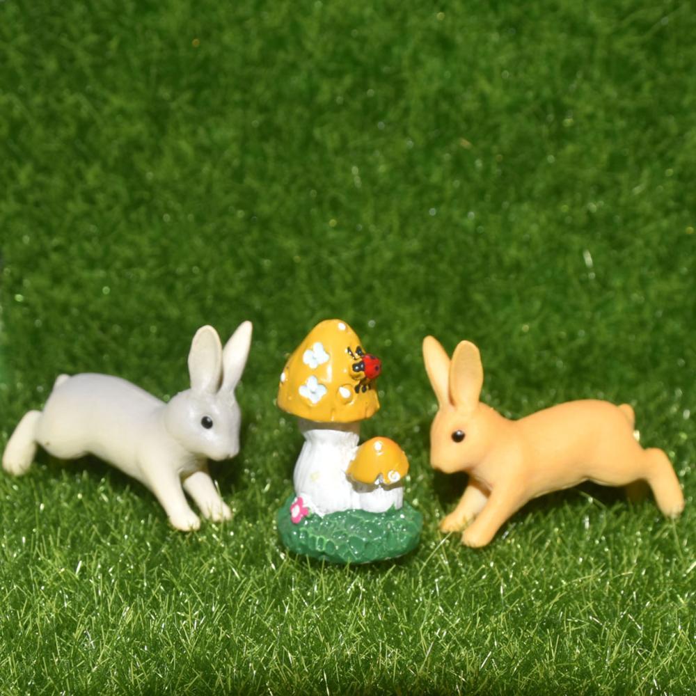 1-3 шт. искусственный миниатюрный кролик и гриб полимерный микро-пейзаж бонсай украшения для растений DIY сказочные садовые аксессуары