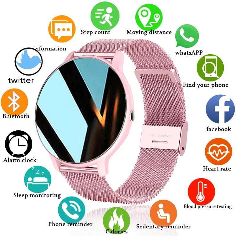 2021 New Women Smart Watch Real-time Weather Forecast Activity Tracker Heart Rate Sports Ladies Smar