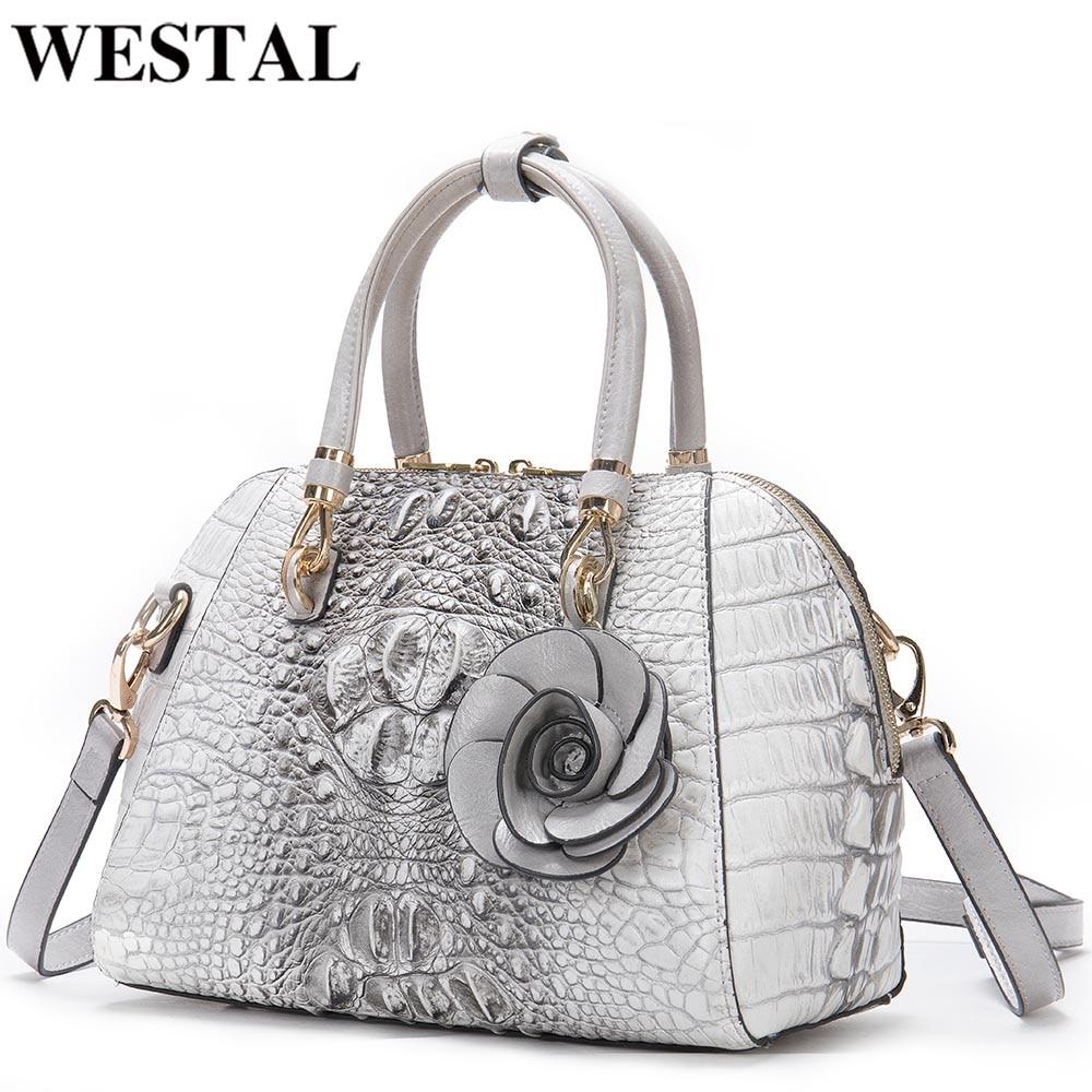 WESTAL-حقائب يد نسائية فاخرة ، حقائب كتف بنمط تمساح ، حقائب يد جلدية