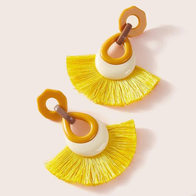 Trendy Drop Shape Acrylic Resin Tassel Earrings for Women Indian Jewelry Brincos Para As Mulheres Aretes De Mujer 2020 Brinco