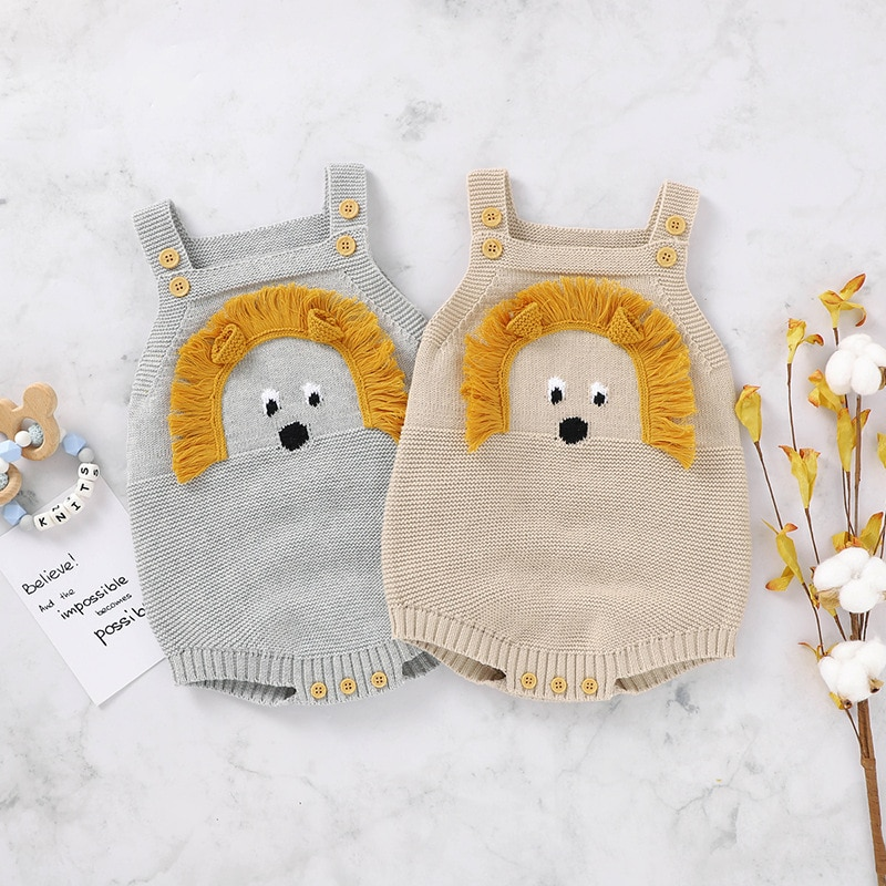 Autumn Newborns Boys Girls Jumpsuits Clothes New Baby Rompers Knitted Cartoon 3D Lion Autumn Sleevel