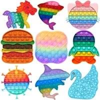 rainbow bubble fidget sensory toy for autisim special needs anti stress game stress relief squishy fidget toys for kids